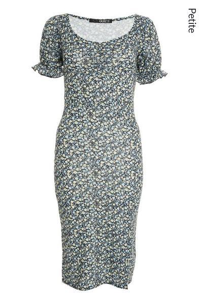 Petite Black Floral Midi Dress